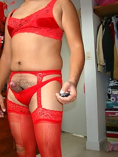 This sexy pantie boy looks red hot in his horny lingerie
