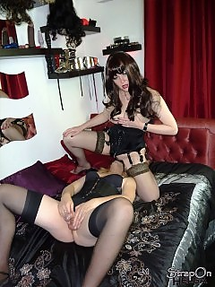 This horny tranny lets Strapon Helga ride her naughty tongue